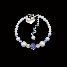 Load image into Gallery viewer, daughter pearl crystal charm bracelet, white and blue or custom color