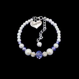 daughter pearl crystal charm bracelet, white and blue or custom color
