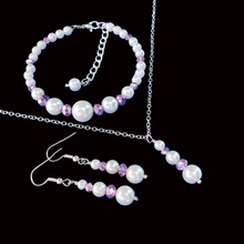 Load image into Gallery viewer, handmade pearl and crystal drop necklace accompanied by a bracelet and a pair of drop earrings