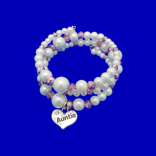 Auntie Gift - Auntie Present - Auntie Gift Ideas, auntie pearl crystal expandable multi layer wrap charm bracelet, white and purple or custom color