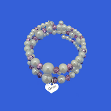 Load image into Gallery viewer, gran pearl crystal expandable multi-layer wrap charm bracelet, white and purple or custom color