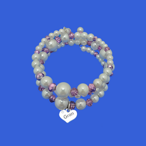 gran pearl crystal expandable multi-layer wrap charm bracelet, white and purple or custom color