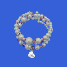 Load image into Gallery viewer, handmade sister pearl and crystal expandable, multi-layer, wrap charm bracelet