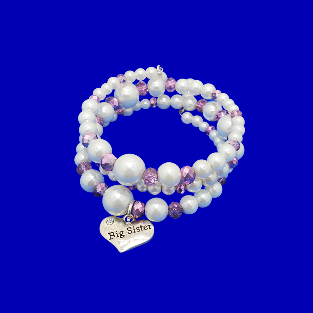 big sister expandable multi layer wrap pearl charm bracelet, white and purple or custom color