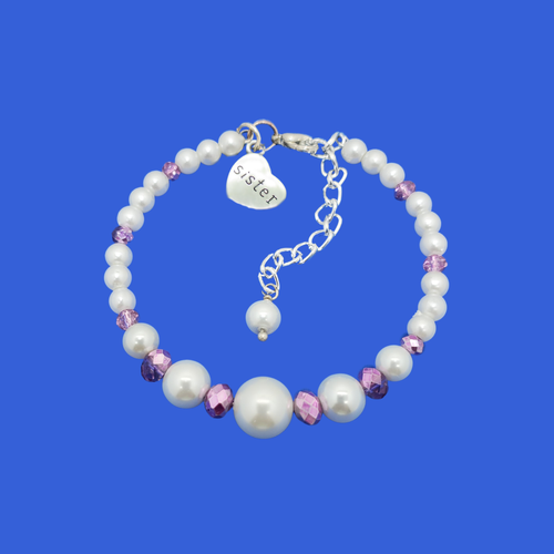 sister pearl crystal charm bracelet, white and purple or custom color