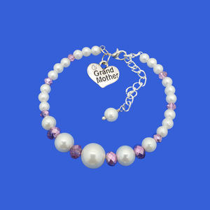 grand mother pearl crystal charm bracelet, white and purple or custom color