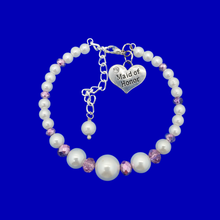 Load image into Gallery viewer, maid of honor pearl crystal charm bracelet, white and purple or custom color