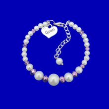 Load image into Gallery viewer, handmade pearl and crystal Gran charm bracelet