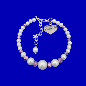 flower girl pearl crystal charm bracelet, custom color
