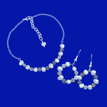 Load image into Gallery viewer, Pearl Set - Bridal Sets - Bracelet Sets, handmade fresh water pearl and floral bar bracelet accompanied by a pair of hoop earrings, ivory and silver or ivory and gold