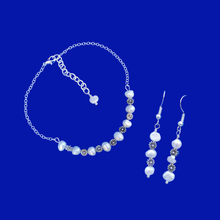 Load image into Gallery viewer, handmade floral fresh water pearl bar bracelet accompanied by a pair of drop earrings