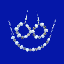 Load image into Gallery viewer, handmade floral fresh water pearl bar necklace accompanied by a pair of matching hoop earrings