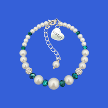 Load image into Gallery viewer, sister pearl crystal charm bracelet, white and green or custom color