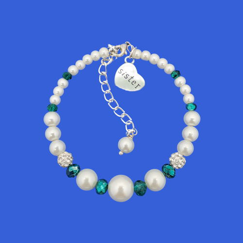 sister pearl crystal charm bracelet, white and green or custom color