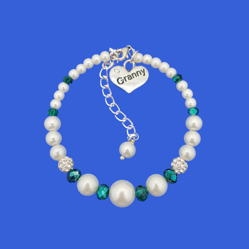 Granny Gift - Granny Present - Granny Jewelry - handmade granny pearl crystal charm bracelet, white and green or custom color
