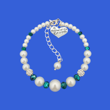 Load image into Gallery viewer, mother of the groom pearl crystal charm bracelet, white and green or custom color