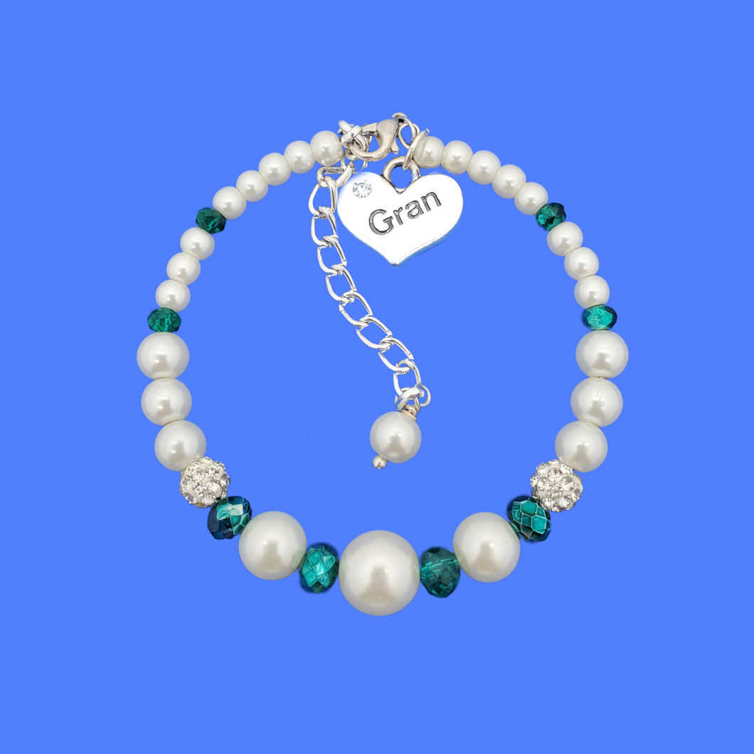 gran pearl crystal charm bracelet, white and green or custom color