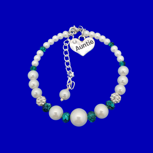 Auntie Jewellery - Auntie Bracelet - Auntie Gift Ideas, auntie pearl crystal expandable charm bracelet, white and green or custom color