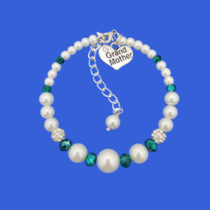 Grand mother pearl crystal expandable charm bracelet, white and green or custom color