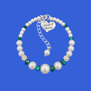 Maid of honor pearl crystal expandable charm bracelet