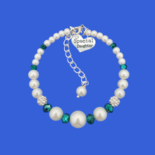 Load image into Gallery viewer, Special Daughter Expandable Pearl Crystal Charm Bracelet, white with green accents