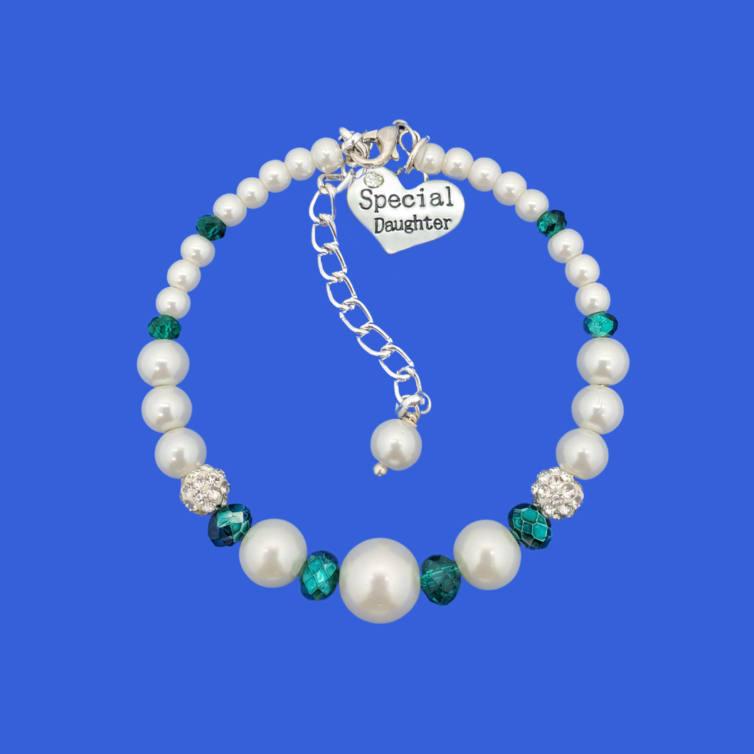 Special Daughter Expandable Pearl Crystal Charm Bracelet, white with green accents