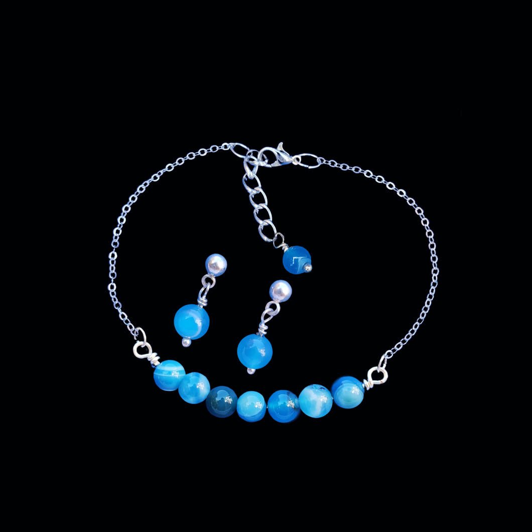 handmade natural gemstone bar bracelet stud earring jewelry set, (blue lines agate) shades of blue or custom color
