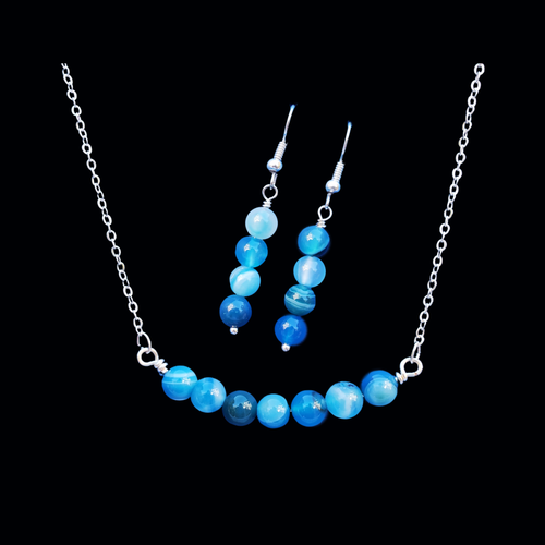 handmade natural gemstone bar necklace accompanied by a pair of drop earrings, blue lines agate (shades of blue) or custom color