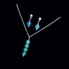 Load image into Gallery viewer, handmade natural gemstone drop necklace accompanied by a pair of drop earrings