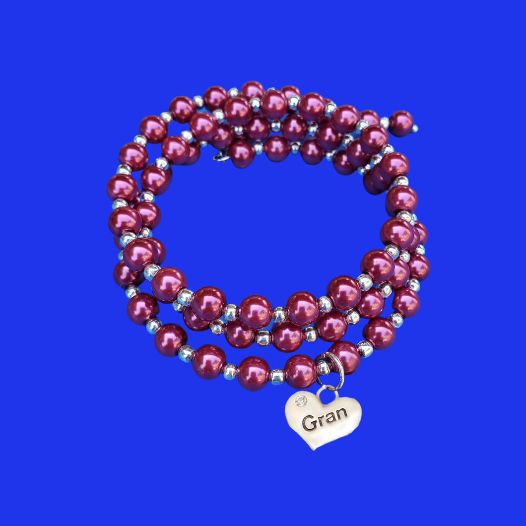 Gift ideas For Gran - Gran Birthday Gifts - Gran Gift - Gran Expandable Multi-Layer Wrap Pearl Expandable Charm Bracelet, bordeaux red or custom color