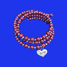 Load image into Gallery viewer, Bride Jewelry - Bride Gift - Gift Ideas For Brides, bride silver accented pearl expandable multi layer wrap charm bracelet, silver and bordeaux red or custom color