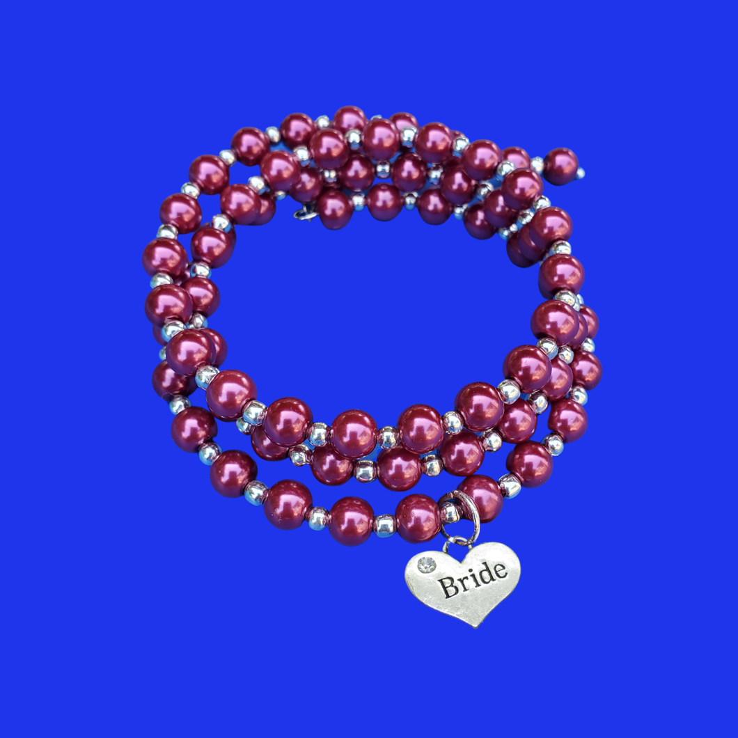 Bride Jewelry - Bride Gift - Gift Ideas For Brides, bride silver accented pearl expandable multi layer wrap charm bracelet, silver and bordeaux red or custom color