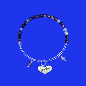 nana natural gemstone expandable charm bracelet, shades of purple (purple agate) or custom color