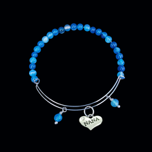 Load image into Gallery viewer, nana blue lines agate expandable charm bracelet, shades of blue or custom color