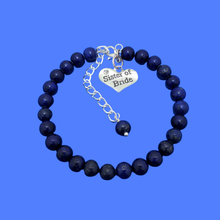 Load image into Gallery viewer, Sister of the Bride Bracelet - Sister of the Bride Gift, handmade sister of the bride natural gemstone charm bracelet, dark blue (lapis lazuli) or custom color