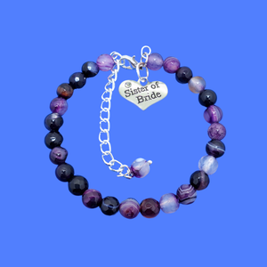 Sister of the Bride Bracelet - Sister of the Bride Gift, handmade sister of the bride natural gemstone charm bracelet, shades of purple (purple agate) or custom color
