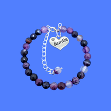 Load image into Gallery viewer, auntie purple agate natural gemstone charm bracelet, shades of purple or custom color