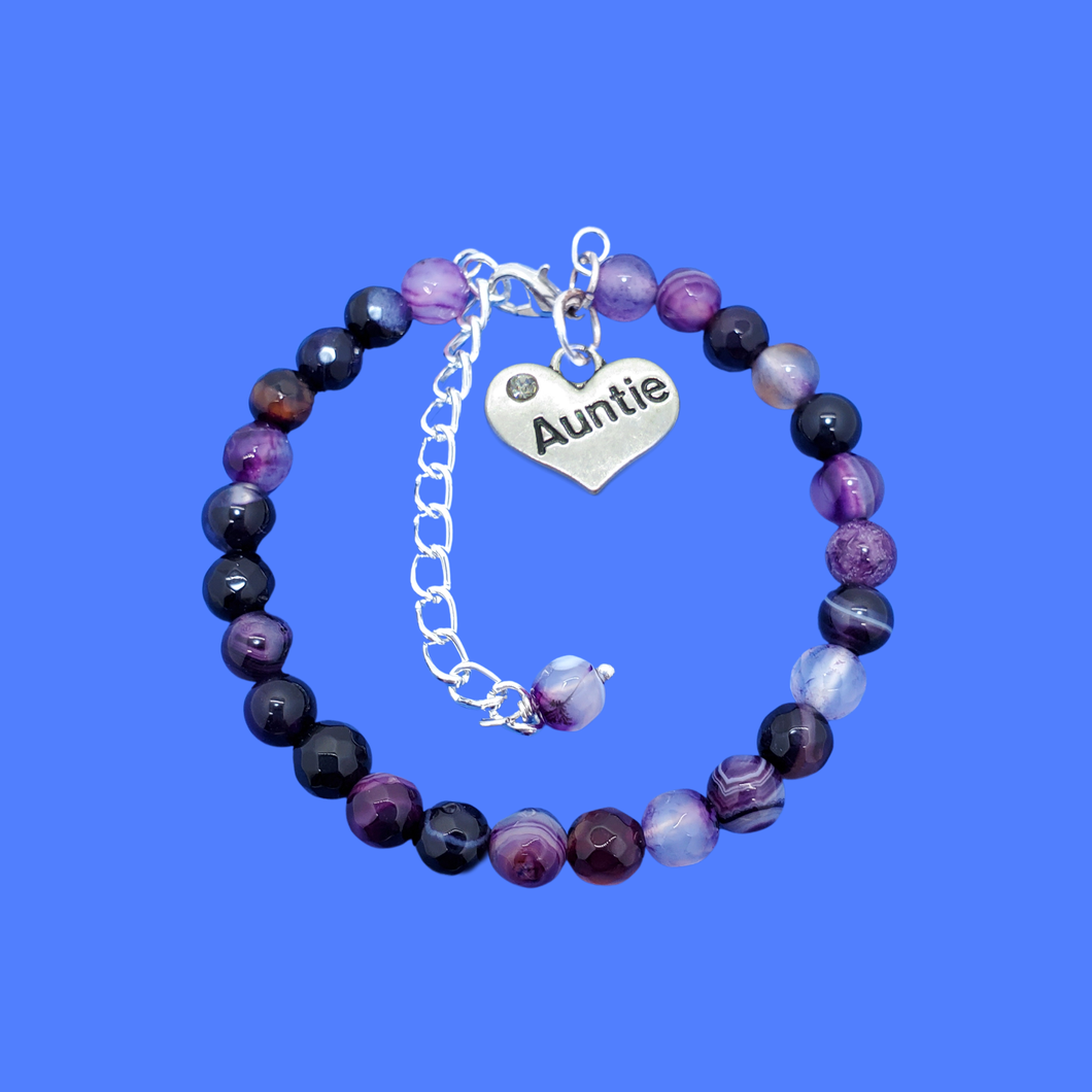 auntie purple agate natural gemstone charm bracelet, shades of purple or custom color