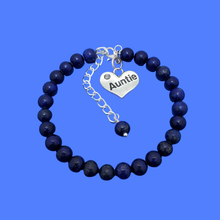 Load image into Gallery viewer, Gifts For My Aunt - Auntie Gift - Auntie Gift Ideas, handmade Auntie (lapis lazuli) dark blue charm bracelet
