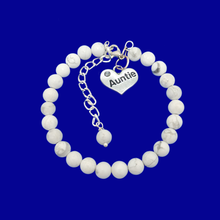 Load image into Gallery viewer, Gifts For My Aunt - Auntie Gift - Auntie Gift Ideas, handmade Auntie (white howlite) white and grey charm bracelet