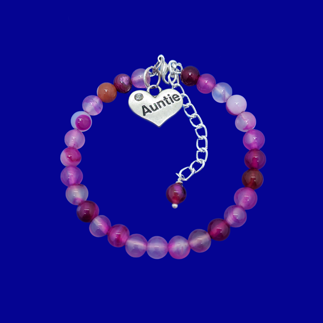 Gifts For My Aunt - Auntie Gift - Auntie Gift Ideas, handmade Auntie (rose line agate) shades of pink charm bracelet