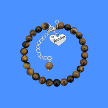 Load image into Gallery viewer, Gifts For My Aunt - Auntie Gift - Auntie Gift Ideas, handmade Auntie (tiger's eye) shades of brown bracelet