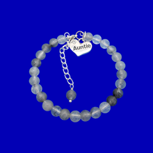 Load image into Gallery viewer, Gifts For My Aunt - Auntie Gift - Auntie Gift Ideas, handmade Auntie (ghost crystals) shades of grey charm bracelet