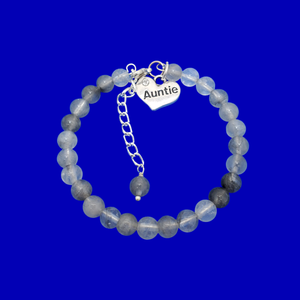 Gifts For My Aunt - Auntie Gift - Auntie Gift Ideas, handmade Auntie (ghost crystals) shades of grey charm bracelet