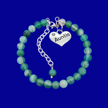 Load image into Gallery viewer, Gifts For My Aunt - Auntie Gift - Auntie Gift Ideas, handmade Auntie (green fantasy agate) shades of green charm bracelet