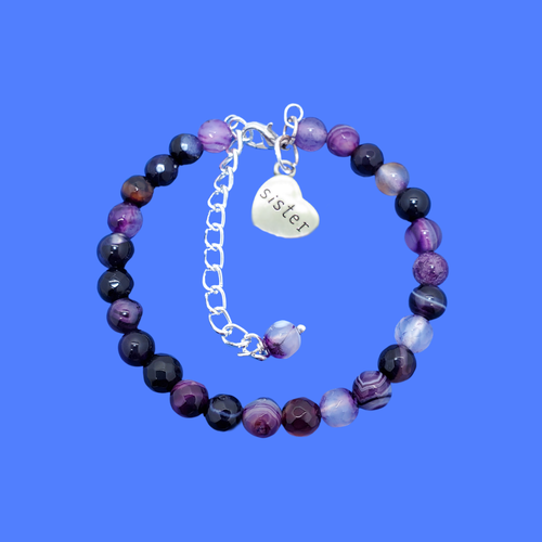 handmade natural gemstone sister charm bracelet (purple agate) shades of purple or custom color
