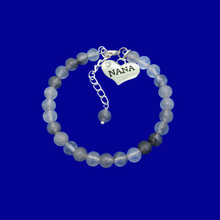 Load image into Gallery viewer, handmade nana natural gemstone charm bracelet, shades of grey (ghost crystals) or custom color