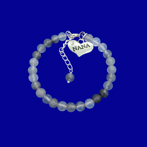 handmade nana natural gemstone charm bracelet, shades of grey (ghost crystals) or custom color