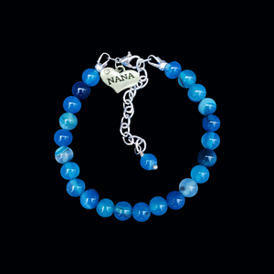 Nana Gift - Nana Present - Nana Jewelry, handmade nana natural gemstone charm bracelet, shades of blue (blue lines agate) or custom color