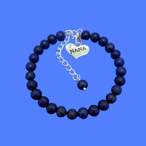Nana Gift - Nana Present - Nana Jewelry, handmade nana natural gemstone charm bracelet, dark blue (lapis lazuli) or custom color